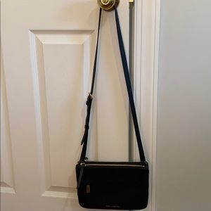 Vince Camuto black leather cross body bag